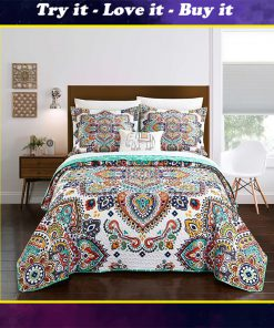 bohemian symbols colorful all over printed bedding set