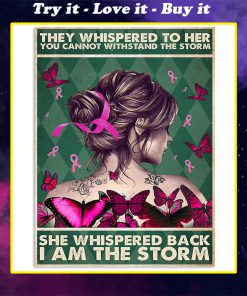 breast cancer awareness they whispered to her you cannot withstand storm vintage poster