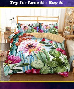 cactus and flower all over printed bedding set