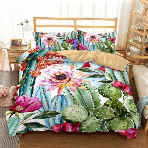cactus and flower all over printed bedding set 3