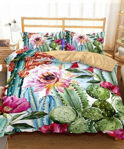 cactus and flower all over printed bedding set 5