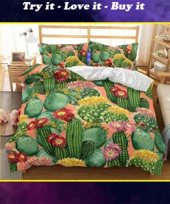 cactus flowers all over printed bedding set