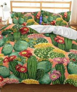 cactus flowers all over printed bedding set 3