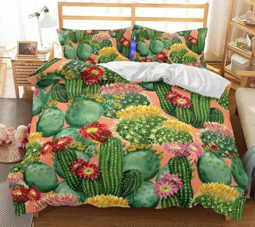 cactus flowers all over printed bedding set 4