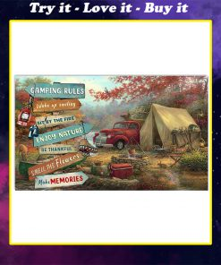 camping rules wake up smiling sit by the fire poster