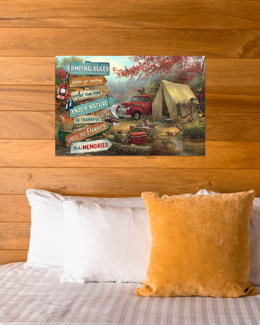 camping rules wake up smiling sit by the fire poster 4