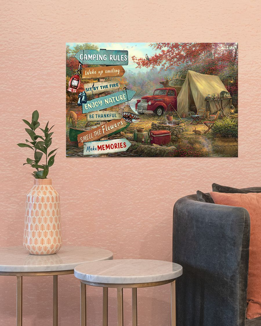 camping rules wake up smiling sit by the fire poster 5
