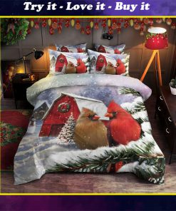 chrismas time cardinal all over printed bedding set