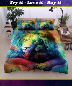 colorful lion all over printed bedding set