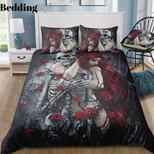 couple skull and rose all over printed bedding set 2