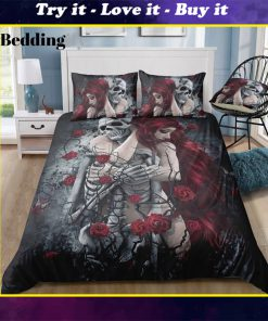 couple skull and rose all over printed bedding set