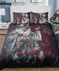 couple skull and rose all over printed bedding set 3