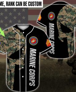 custom name skull united states marine corps green camo all over printed baseball shirt 2