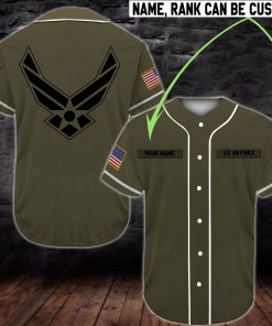 custom name united states air force camo all over printed baseball shirt 2
