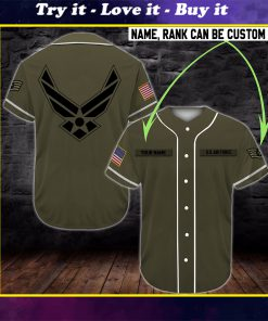 custom name united states air force camo all over printed baseball shirt