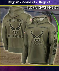 custom name united states air force im retired not expired full printing shirt