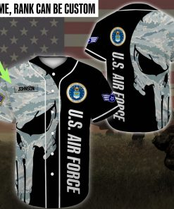 custom name united states air force skull camo all over printed baseball shirt 2
