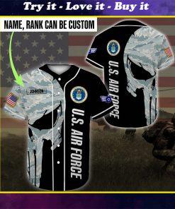 custom name united states air force skull camo all over printed baseball shirt