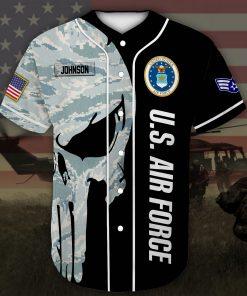 custom name united states air force skull camo all over printed baseball shirt 4