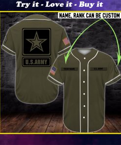 custom name united states army full printing baseball shirt