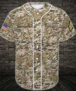 custom name united states army green camo all over printed baseball shirt 4