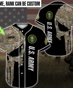 custom name united states army skull camo full printing baseball shirt 2