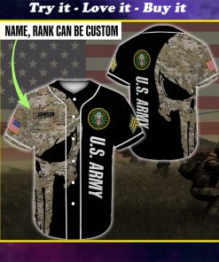 custom name united states army skull camo full printing baseball shirt