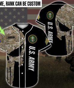 custom name united states army skull camo full printing baseball shirt 3