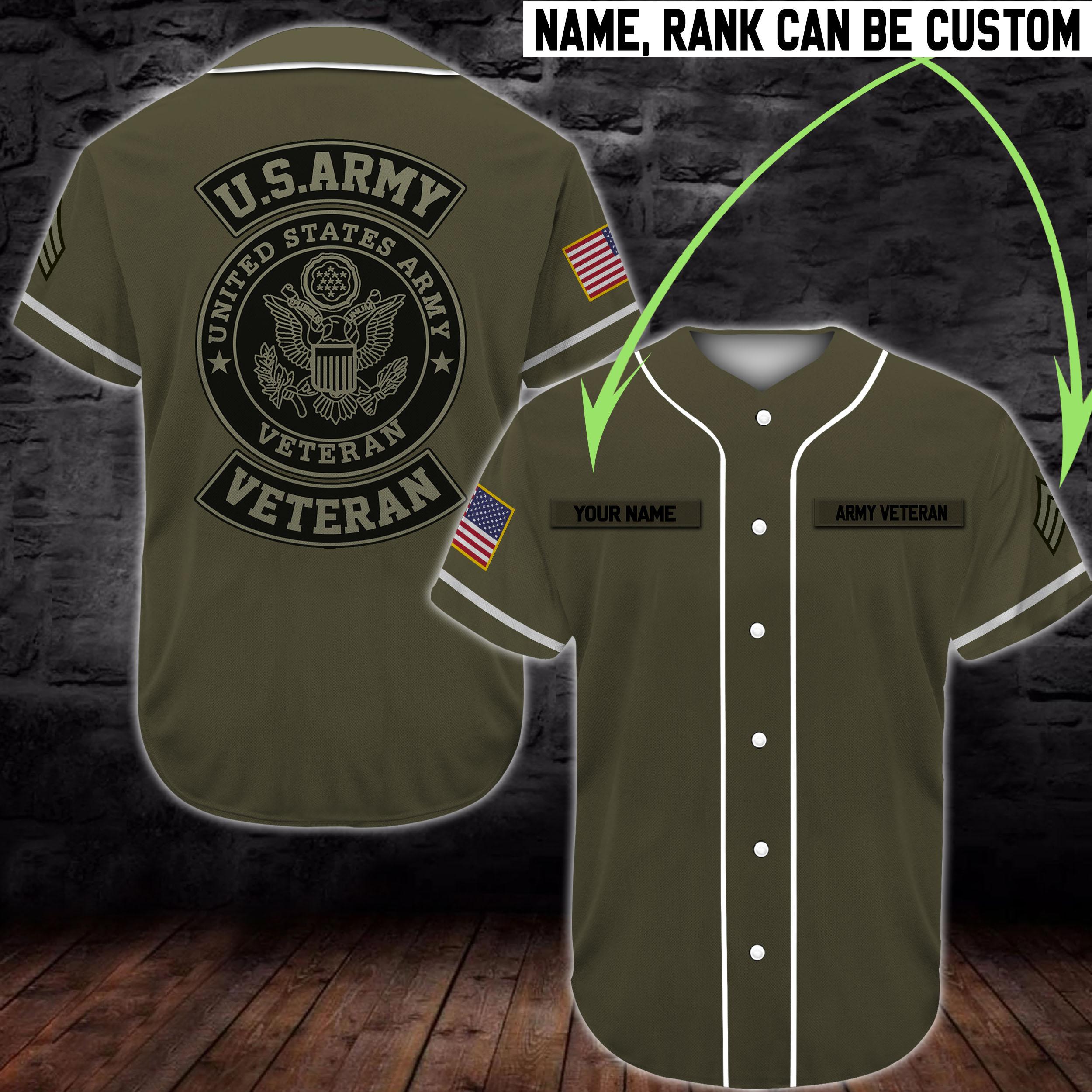 custom name united states army veteran camo full printing baseball shirt 4