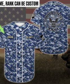 custom name united states navy sea blue camo all over printed baseball shirt 2