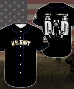 custom name united states navy veteran dad all over printed baseball shirt 2