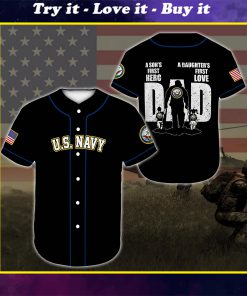 custom name united states navy veteran dad all over printed baseball shirt