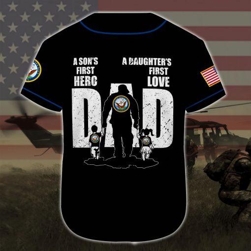 custom name united states navy veteran dad all over printed baseball shirt 5