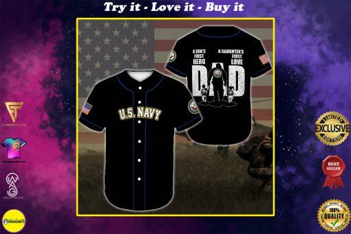 custom name united states navy veteran dad all over printed baseball shirt