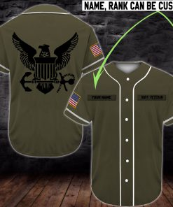 custom name united states navy veteran green all over printed baseball shirt 2