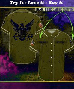 custom name united states navy veteran green all over printed baseball shirt