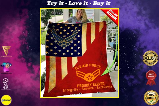 custom united states air force proudly served all over printed blanket