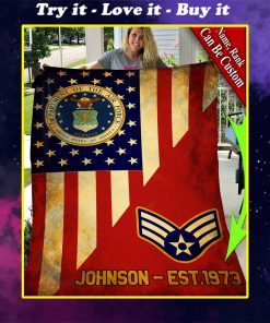 custom your name department of the air force all over printed blanket