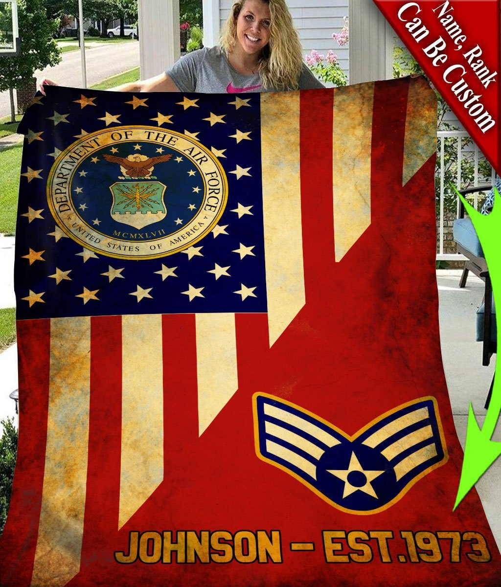 custom your name department of the air force all over printed blanket 5