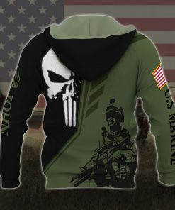 custom your name skull united states marine corps all over printed hoodie - back
