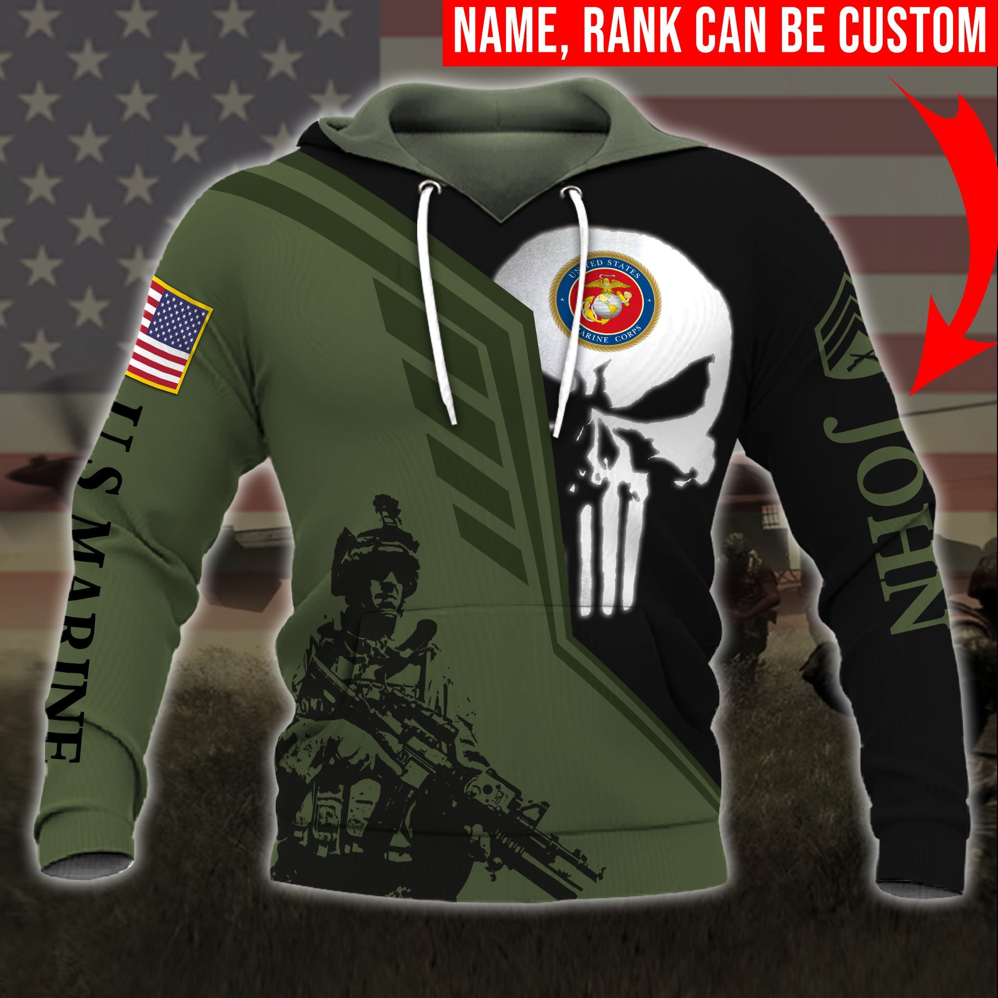 custom your name skull united states marine corps all over printed hoodie
