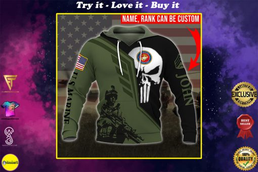 custom your name skull united states marine corps all over printed shirt