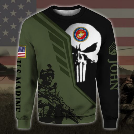 custom your name skull united states marine corps all over printed sweatshirt
