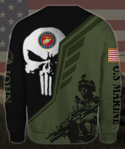 custom your name skull united states marine corps all over printed sweatshirt - back