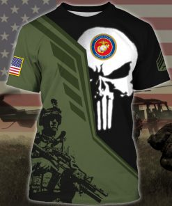 custom your name skull united states marine corps all over printed tshirt
