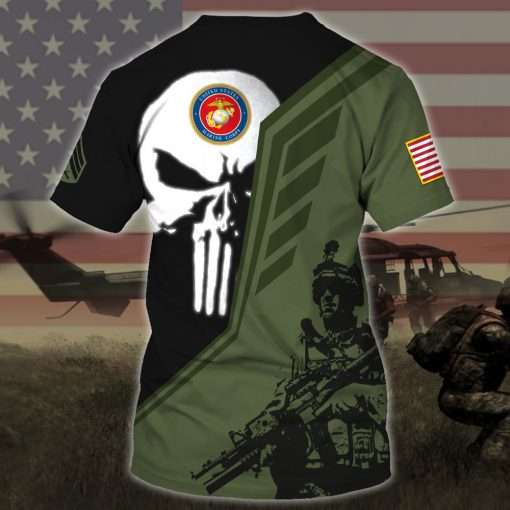 custom your name skull united states marine corps all over printed tshirt - back