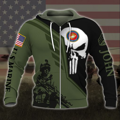 custom your name skull united states marine corps all over printed zip hoodie