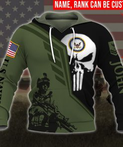 custom your name skull united states navy all over printed hoodie