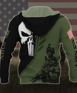 custom your name skull united states navy all over printed hoodie - back