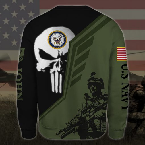 custom your name skull united states navy all over printed sweatshirt - back